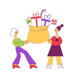 flat women holding present box bag vector image