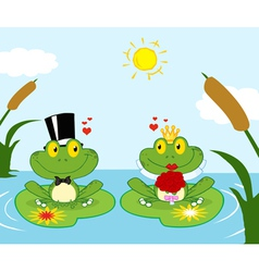 Frog Bride And Groom On A Pond vector