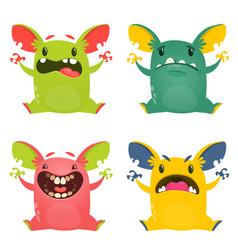 funny cartoon monsters set halloween vector image