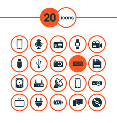 gadget icons set with phone computer radio and vector image