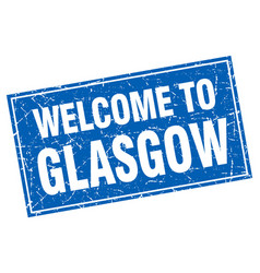 Glasgow blue square grunge welcome to stamp vector