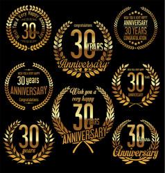 Golden laurel wreath anniversary collection 30 vector