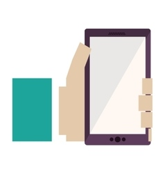 Hand holding cellphone with green sleeve vector