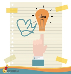 Hand with light bulb vector image