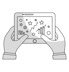 Hands holding tablet with graphs on screen icon vector