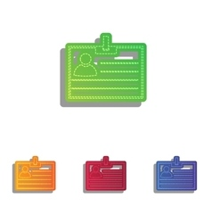 Id card sign Colorfull applique icons set vector image vector image