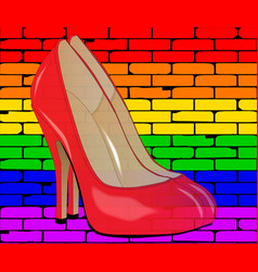 Lgbt painted wall with shoes vector