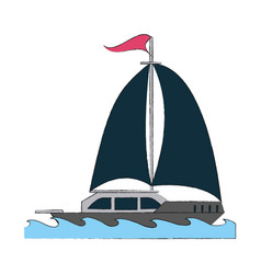 luxury sailboat isolated vector image