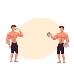 Man bodybuilder working out with dumbbells and vector
