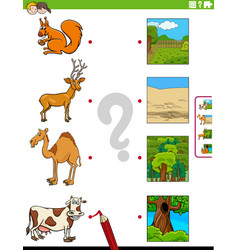 Match animals and their environments educational vector
