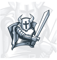 Monochrome fearless knight warrior vector