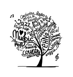 Music tree sketch for your design vector image