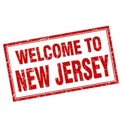 New Jersey red square grunge welcome isolated vector