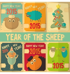 New Year Cards with Cute Cartoon Sheep vector image
