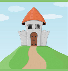 old castle on a hill colored doodle vector image