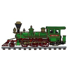 Old green american steam locomotive vector