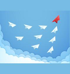 Paper plane leadership concept business teamwork vector