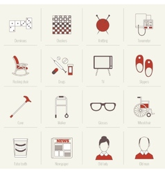 Pensioners Life Icons Flat Line vector image