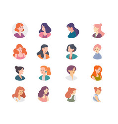 people avatar collection women girls females vector image