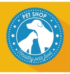 pet shop healthy food blue sticker with star vector image
