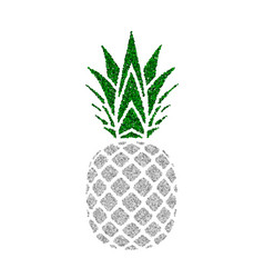pineapple with green leaf tropical silver exotic vector image