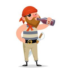 Pirate sailor rum bottle drink character vector