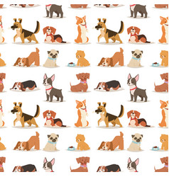 Puppy cute playing dogs characters funny purebred vector