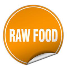 Raw food round orange sticker isolated on white vector