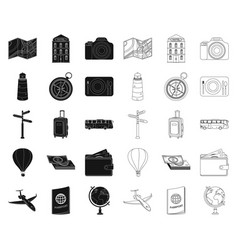 Rest and travel blackoutline icons in set vector