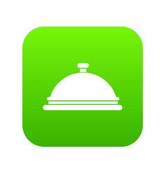 restaurant cloche icon digital green vector image
