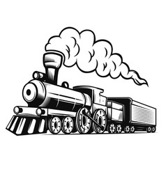 Retro train isolated on white background design vector