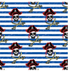 seamless pattern pirates hand drawing vector image