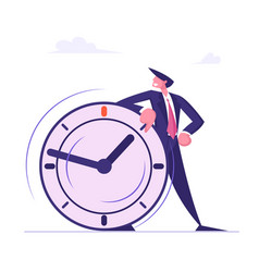 Self confident businessman leaning on huge clock vector