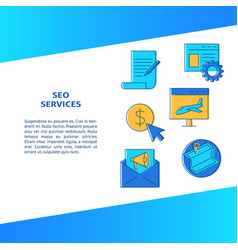 seo services banner in line style with place vector image