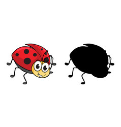 set insect cartoon character and its vector image