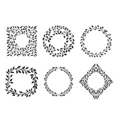 Set of beautiful wreath and frames vector
