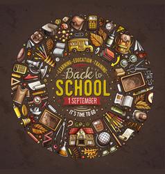 Set school cartoon doodle objects symbols and vector