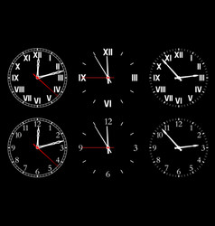 set watch isolated on a dark background vector image