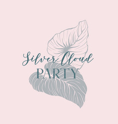 silver cloud party invitation hand drawn vector image