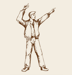 sketch of a man doing hands up vector image