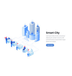 smart city isometric landing page template vector image