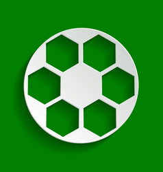 soccer ball sign paper whitish icon with vector image
