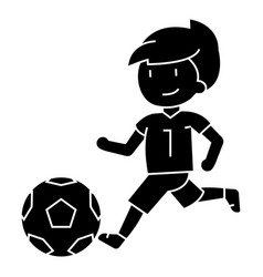 soccer boy playing football icon vector image