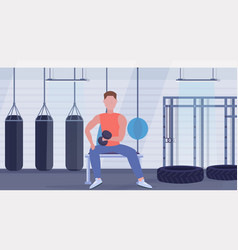 Sports man doing exercises with dumbbell muscular vector