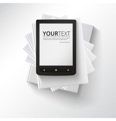 Stack books with e-book vector