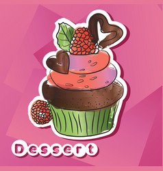 sticker with dark chocolat cake vector image