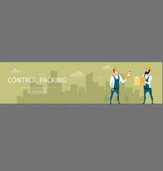 Storage guy worker control packing quality banner vector