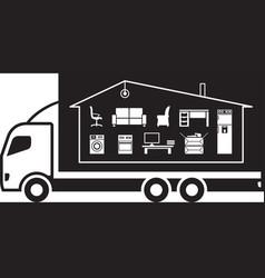Truck relocating household belongings vector