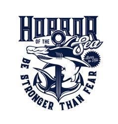 Tshirt print with hammer head shark mascot vector
