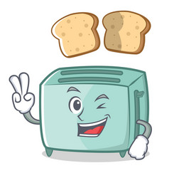 two finger toaster character cartoon style vector image